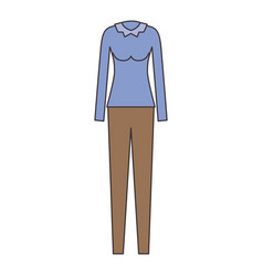female clothes with pant and blouse long sleeve in vector image