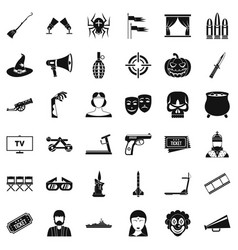 film screen icons set simle style vector image vector image