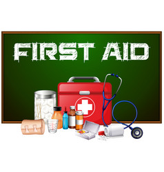 first aid word on board and different equipment vector image vector image