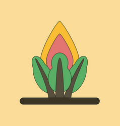 Flat icon on background fire in the forest vector