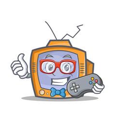 Gamer tv character cartoon object vector