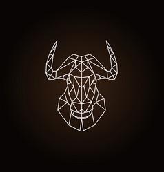 Geometric head bull on black background vector
