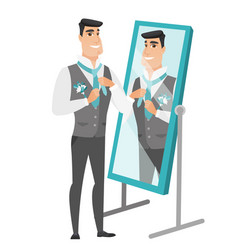 Groom looking in the mirror and adjusting tie vector