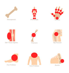 Health problem icons set cartoon style vector