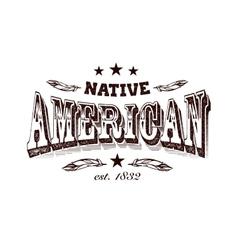 Native american company label vector