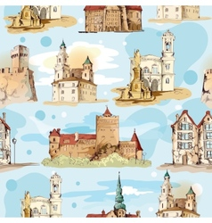 Old city sketch seamless pattern vector image