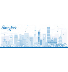 Outline shanghai skyline with blue buildings vector