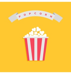 Popcorn box big round wave white ribbon line with vector