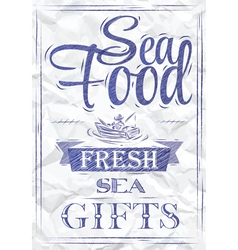 Poster Sea food fresh sea gifts crumpled paper vector image vector image
