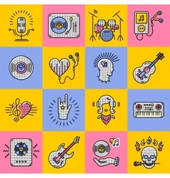 Set music icons line art Rock jazz punk vector image