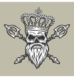 Skull crown and royal scepter vector