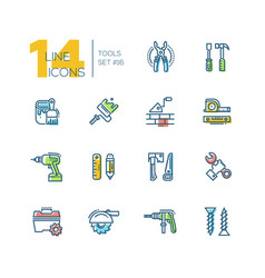 Tools - colored modern single line icons set vector