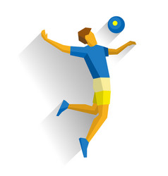 Volleyball player jumping isolated on white vector