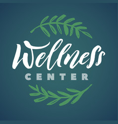 Wellness center logo stroke green leaves vector