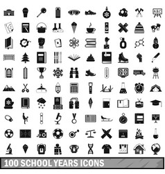 100 school years icons set simple style vector image vector image