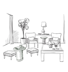 Hand drawn room interior sketch vector