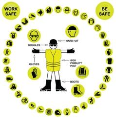 Yellow circular health and safety icon collection vector
