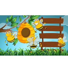 Scene with wooden boards and bee flying in garden vector