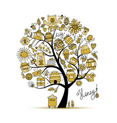 Honey apiary art tree sketch for your design vector