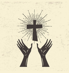 hands raised to the cross of jesus vector image