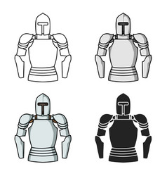 Plate armor icon in cartoon style isolated on vector