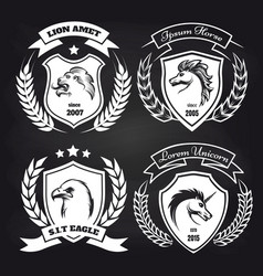 coat of arms collection on blackboard vector image