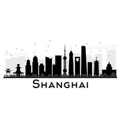 Shanghai city skyline black and white silhouette vector
