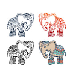 Indian ethnic elephant with tribal ornament vector