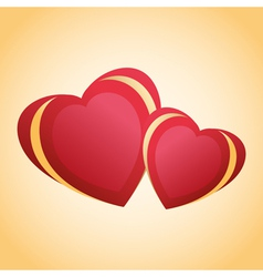 Greeting card with two red golden hearts vector