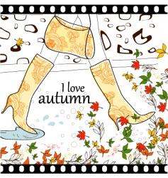 I love autumn background vector image