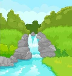 Beautiful waterfall cartoon vector image