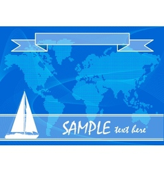 Blue travel background with yacht vector