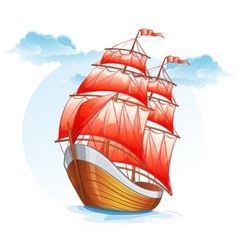 Cartoon images of a sailboat with red sails vector