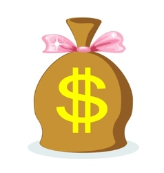 Sack of dollars with a pink bow vector