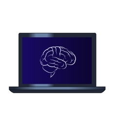 Symbol of the brain on the laptop computer vector