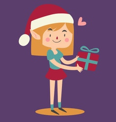 Cartoon elf holding a wrapped git box vector