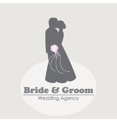 Logo with silhouettes of happy bride and groom vector image
