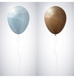 Blue-gray and brown shiny glossy balloons vector image
