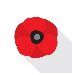 Red poppy flat icon vector