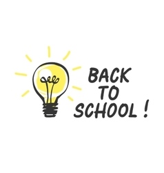 Back to school logo with light bulb vector image vector image