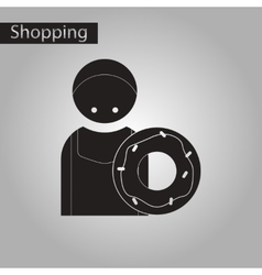 Black and white style icon cook donut vector