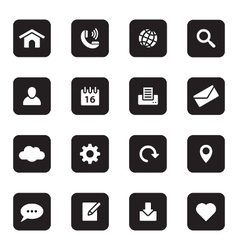 black flat web and technology icon set vector image