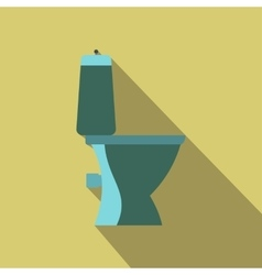 Blue toilet pan a side view flat design vector