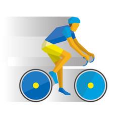 Cartoon cyclist on a bike with shadows behind vector