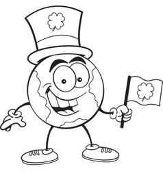 Cartoon earth holding an Irish flag vector image vector image