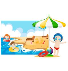 Children swimming in the sea vector