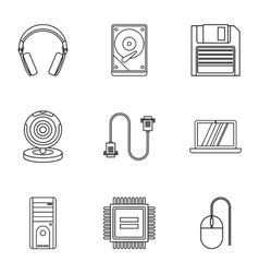 Computer repair icons set outline style vector image vector image