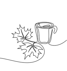Cup of coffee and maple leaves vector