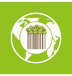 Earth save tree symbol icon vector