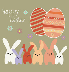 Easter holiday - rabbits and easter eggs vector